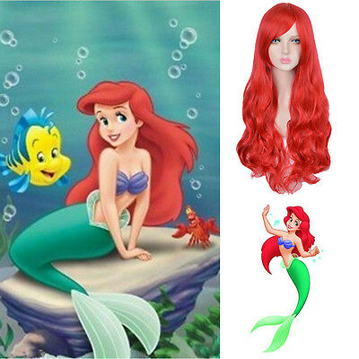 Disney Little Mermaid Princess Ariel Red Long Curly Synthetic Role Playing Wig
