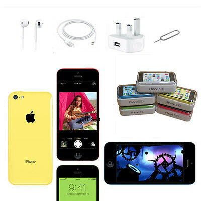 UK iPhone 5C 16 32gb Apple Smartphone Unlocked Sim Free New & Full Package