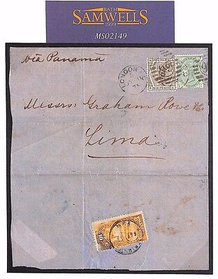 MS2149* 1879 GB DESTINATION MAIL *Lima* via PANAMA Mixed Franking PERU DUES