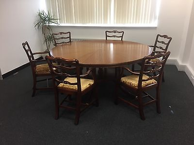 Antique Style Mahogany Dining Table Conference Round Very Large