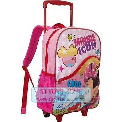 Disney Minnie Mouse Kids Rolling Backpack School Luggage Bag for Girls - Pink