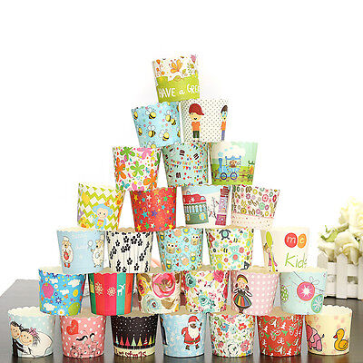 50pcs Xmas Paper Cake Cup Cupcake Cases Baking Muffin Dessert Party Wedding NEW