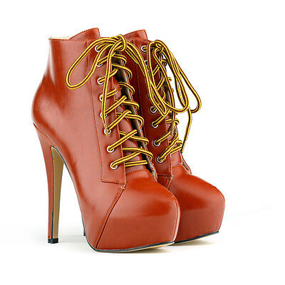 2017 Fashion Women Lace Up High Heel Platform Stiletto Boots Leather Ankle Boots
