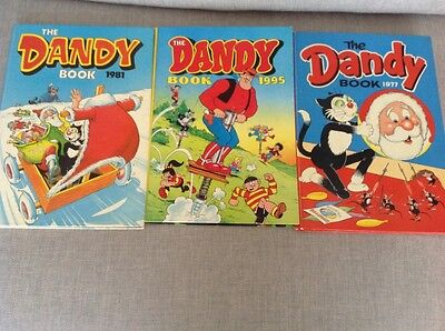 """Three  """" The Dandy Books """" dated 1977- 1981 - 1995"""