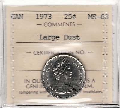 Canada 1973 Large Bust Mule 25 cents ICCS MS-63
