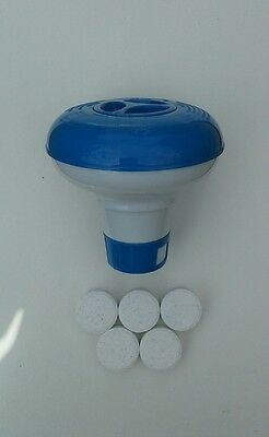 chemical floater with 5 chlorine tablets for pools and spas.