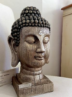 Very Large Beautifully Detailed Thai Buddhas Head Statue Adorned In CLEAR QUARTZ