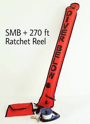 Scuba Diving SMB/DSMB with 270ft Ratchet Reel