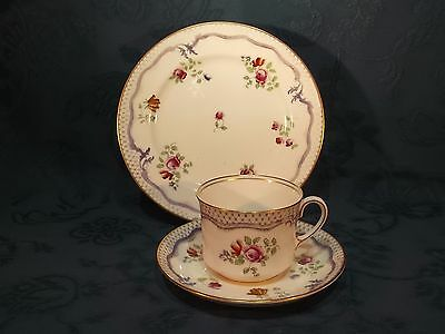 Aynsley A3401 Blue Ribbon & Pink Roses Tea Cup Saucer & Plate Trio (R)