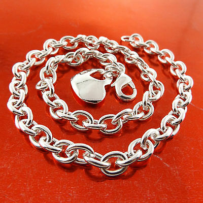 A685 Genuine Real 925 Sterling Silver S/f Heart Charm Pendant Necklace Chain