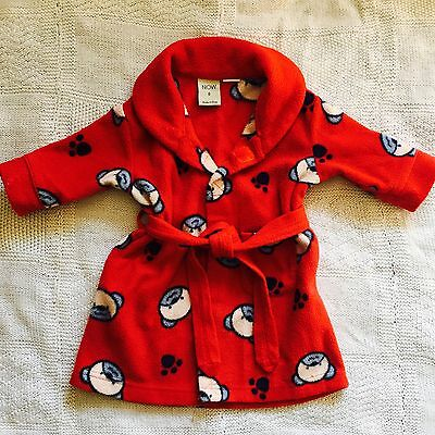 Baby Boys Fleece Dressing Gown Size 0 ~ Puppy Dogs - Red ~ GUC