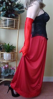 Lipstick Red Silky & Lacy Long Formal Length Half Slip Petticoat OS L-XL BNWT