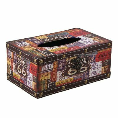 Route 66 Pattern Waterproof Retro Wooden Tissue Box Cover Europe Style