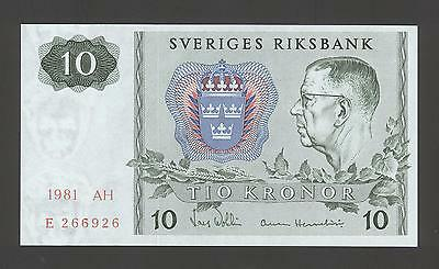 Sweden 10 Kronor 1981 AU-UNC  P. 52,    Banknotes, Uncirculated