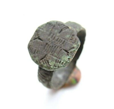 Ancient Bronze Finger Ring With Ornament (FBB30)
