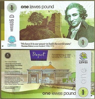 Lewes - Latest Release, 19/05, a new £1 LP Banknote commemorates new Cinema.UNC