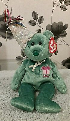 May Birthday Bear with Hat - TY Beanie Baby