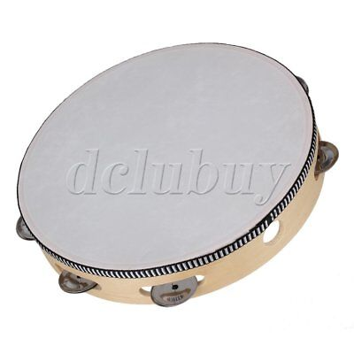 "10"" Hand Drum Tambourine Round Metal Jingles Percussion Toy Musical Instrument"