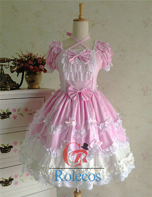 Women Lolita Gothic Pink Ruffle Lace Dress Party Costume Gown Cosplay Dress