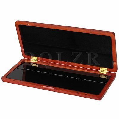 Wooden Saxophone Reed Case Store 10pcs Reeds Magnetic Closure Amber Color