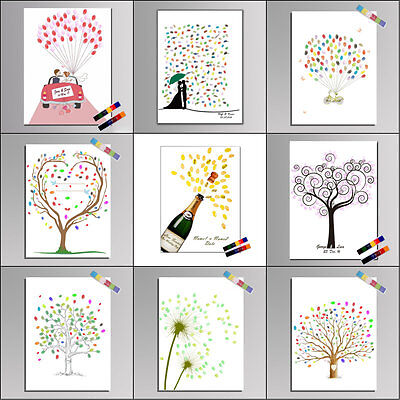 Personalized DIY Wedding Guest Book Colorful Ink Fingerprint Signature Tree 11#