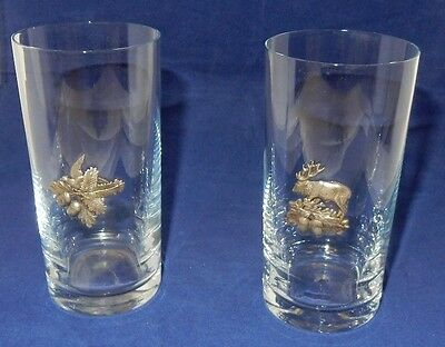 Pair Glass Tumblers with Applied Pewter Animal Plaques Scottish?