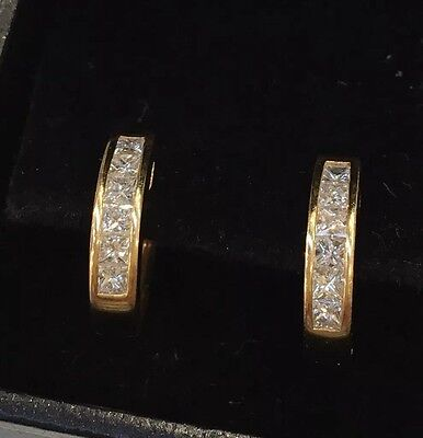 18ct Yellow Gold Princess Cut Diamond Hoops Earrings Excellent Condition $3500
