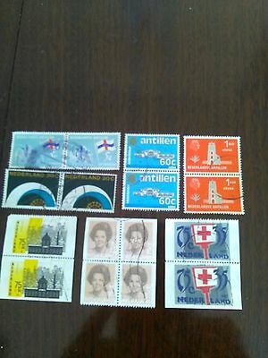16 used stamps of netherlands 1 block of 4 & 6 pairs