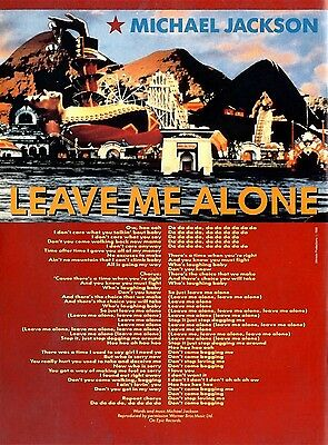 N189-1/3P02 Michael Jackson : Leave Me Alone Songwords Poster 11X8""