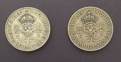 King George V1 1942/1948 - 2 x Two Shillings - 2 Coins