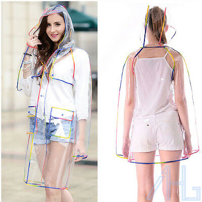 Ladies Clear Rain Mac Hooded Jacket Transparent Button Up Coat Festival Chic