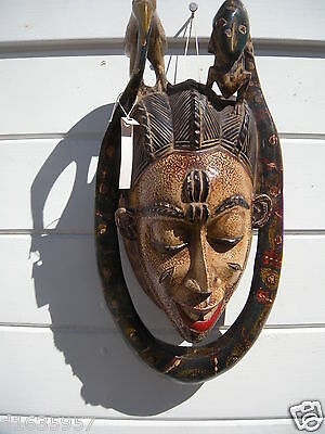 Antique African Tribal Hand Carved Wood Ceremonial Mask  of Snake essence