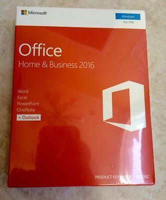 Microsoft Office 2016 Home and Business for Windows. NEW, FACTORY SEALED