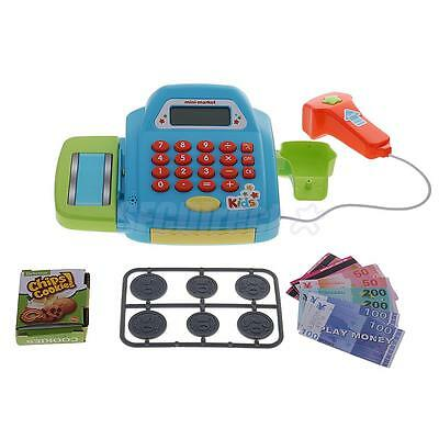 Pretend Play Electronic Cash Register Kids Realistic Actions Toy Games Blue