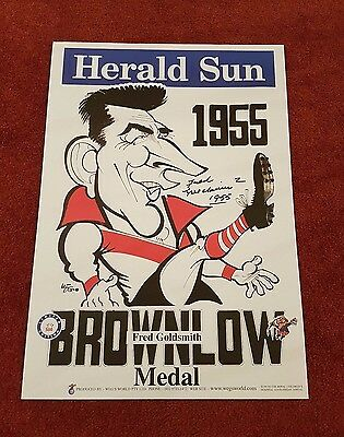 Fred Goldsmith Hand Signed South Melbourne Original 1955 Brownlow Weg Poster