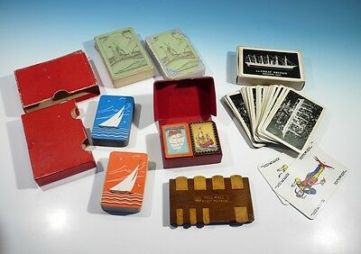 Collection of Art Deco & Vintage Playing Cards & Hardwood Whist Marker.