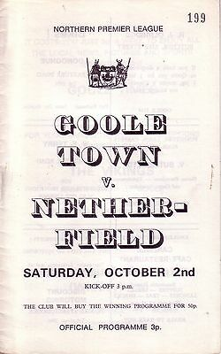 GOOLE TOWN v NETHERFIELD 1971/72 NORTHERN PREMIER LEAGUE