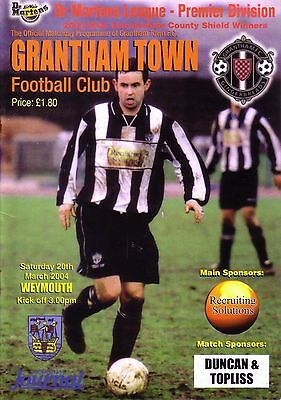 GRANTHAM TOWN v WEYMOUTH 2003/04 DR MARTENS LEAGUE