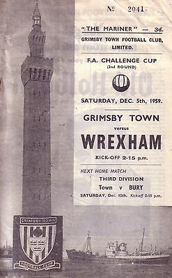 GRIMSBY v WREXHAM 1959/60 FA CUP 2ND ROUND