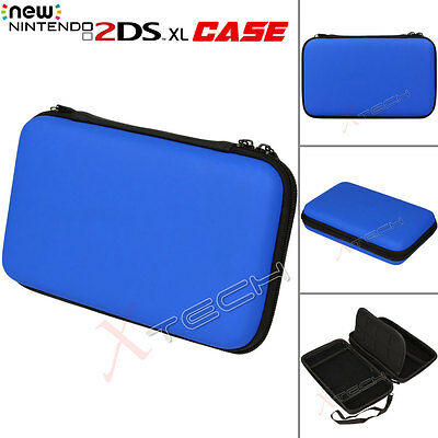 Hard Protective Carry Storage Case Cover With Zip Nintendo 2DS XL + Games - Blue