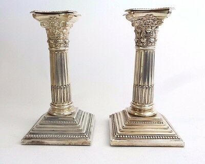 Pair of Candlestick Classic Georgian Revival Sterling Silver Walter Latham 1907