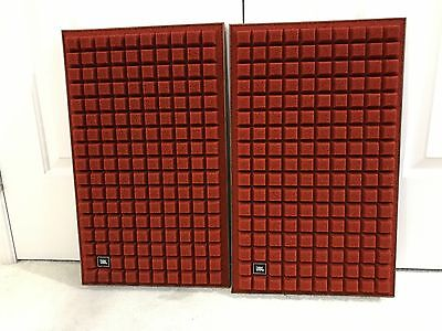 JBL L100 Walnut & Foam Quadrex Speaker Grilles Burnt Orange (Complete Pair)