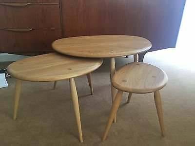 ERCOL Pebble tables - nest of 3 in beech wood