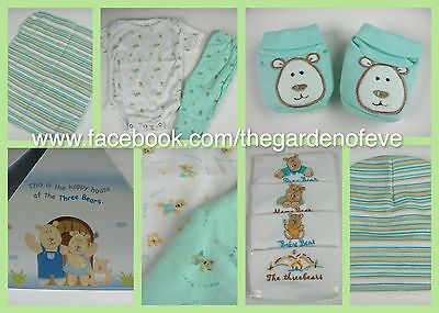 9pc Newborn Baby Bear Shower Gift set GREEN Open