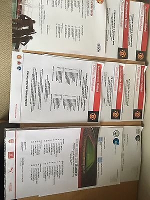 9 Manchester United Single Sheet Programmes 2015-17