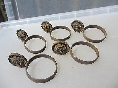Antique Brass Curtain Rings French Flower 1800's Vintage Old Gilded x5 Gilt
