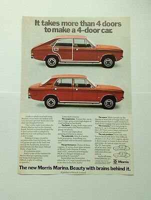 Morris Marina Advert from 1972 - Original - British Leyland
