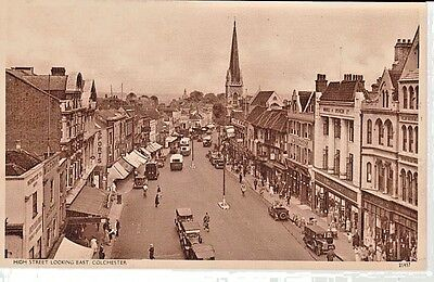 Early COLCHESTER - High Street from above, shops, church, vintage vehicles