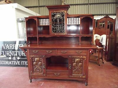 Shapland & Petter Art Nouveau Walnut And Copper Dresser Sideboard