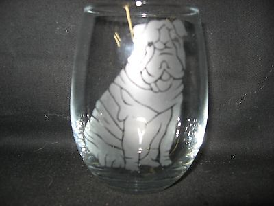 New Etched Shar Pei Stemless Wine Glass Tumbler